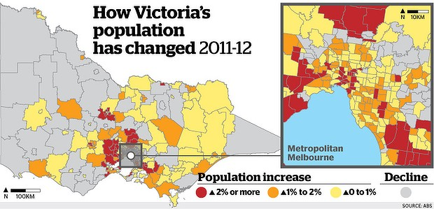 Population Map Of Australia 2013.Melbourne Population Growth 2013 Investment Property Australia